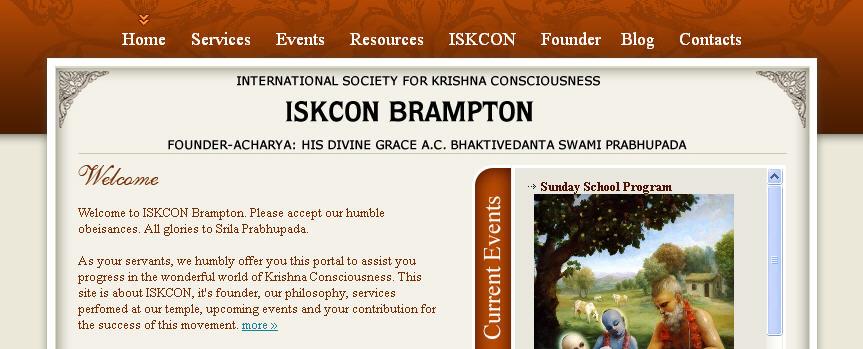 ISKCON Brampton Bhaktivedanta Cultural Center Website