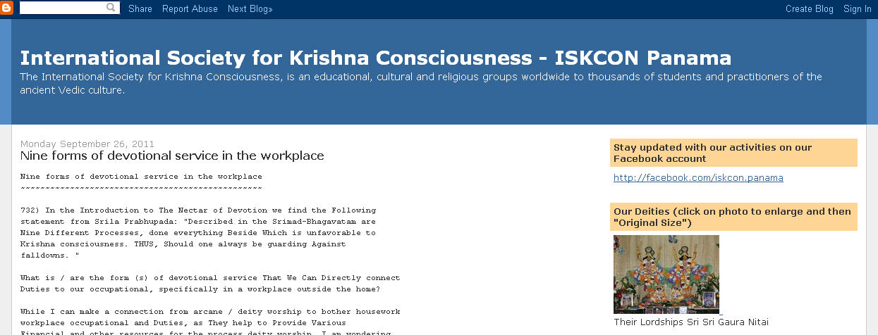 ISKCON Panama Website