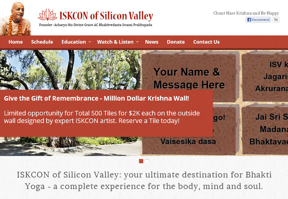ISKCON Silicon Valley Website
