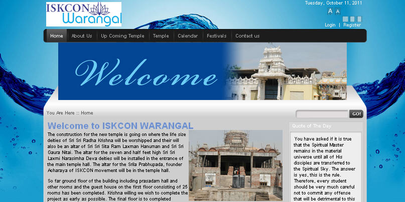 ISKCON Warangal Website
