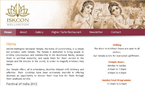 Iskcon Wellington Website