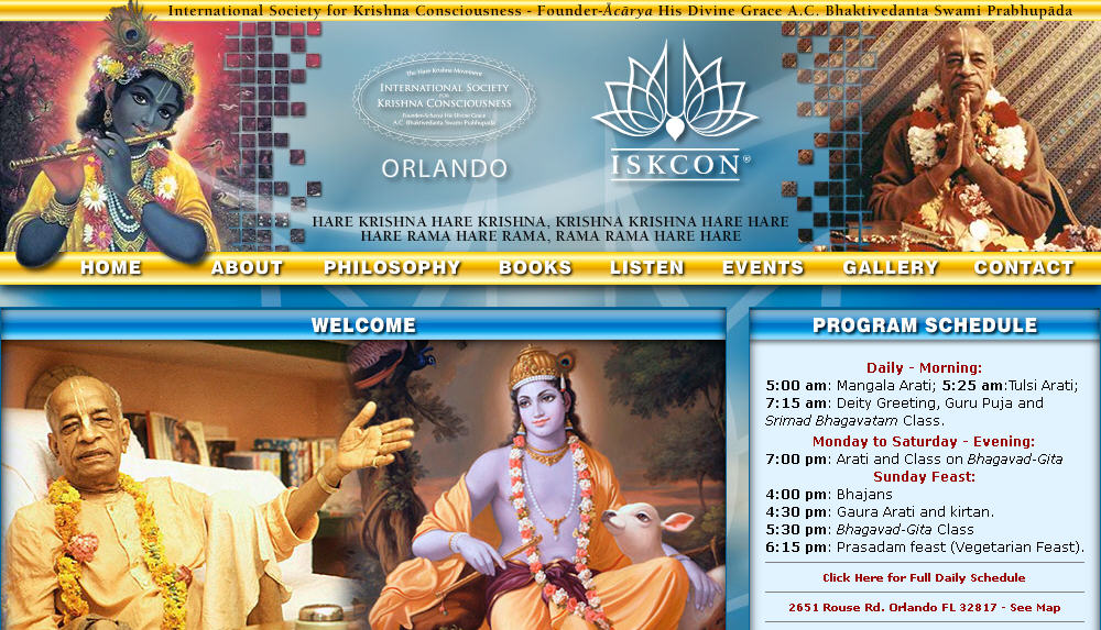 Iskcon Orland Website