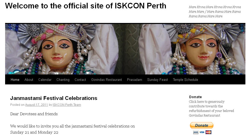 Iskcon Perth Website
