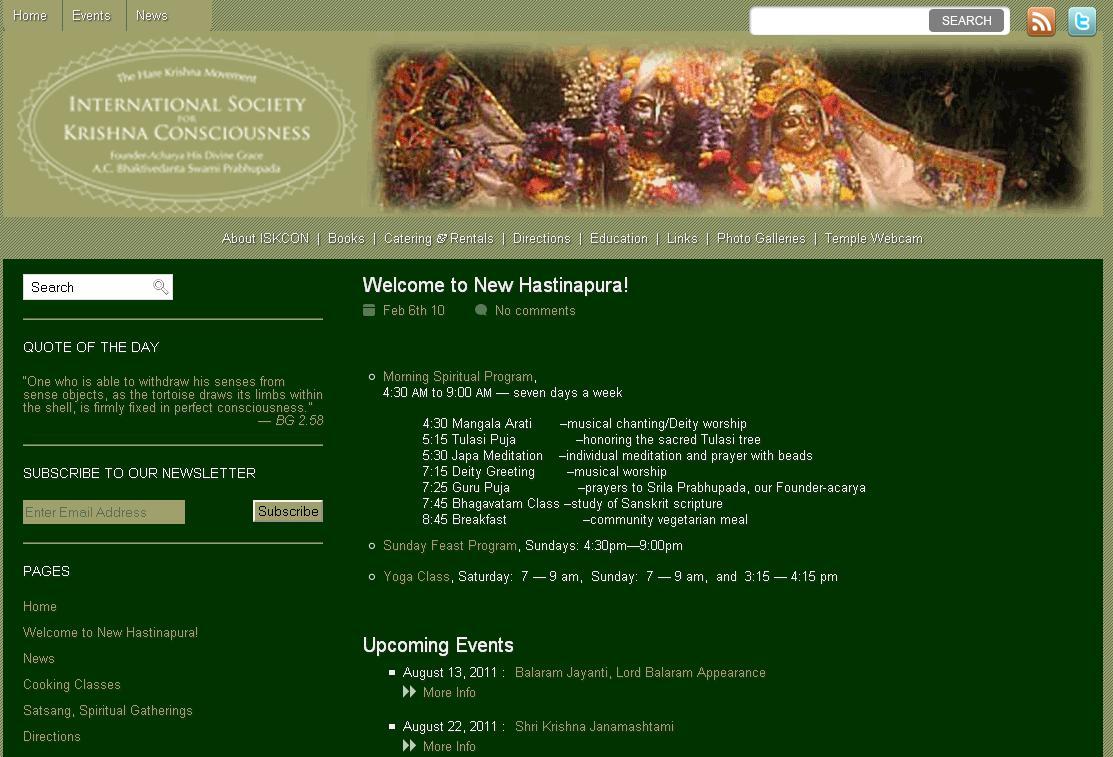 Iskcon Potomac Website