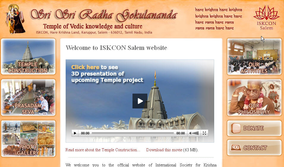Iskcon Salem Website