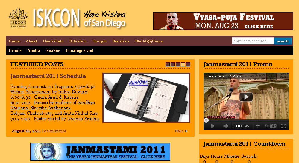 Iskcon San Diego Website