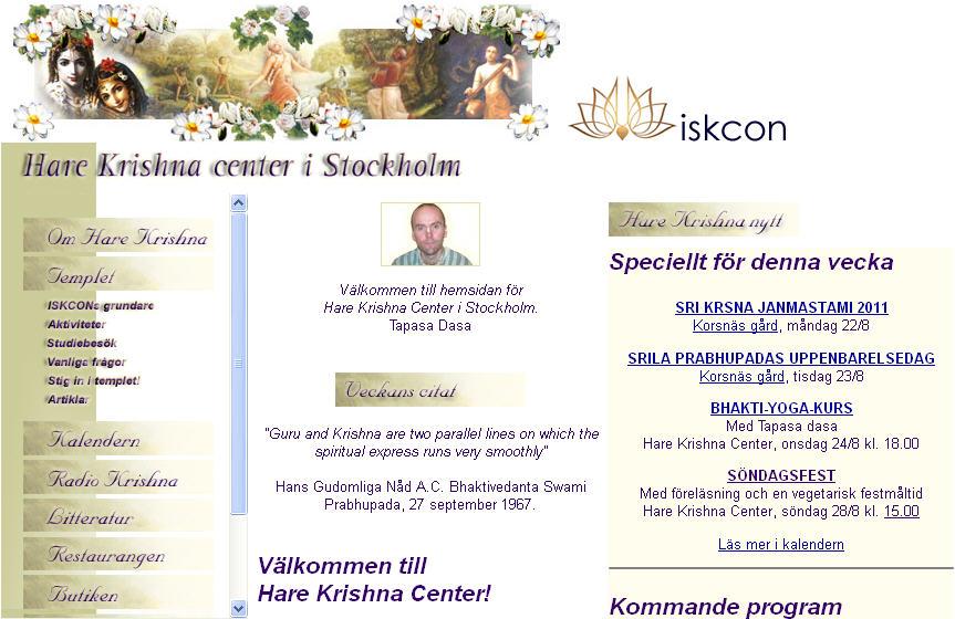Iskcon Stockholm Website