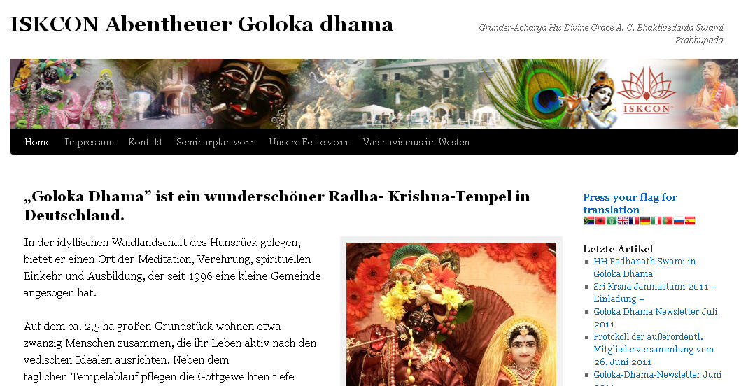 Iskcon Trier Website