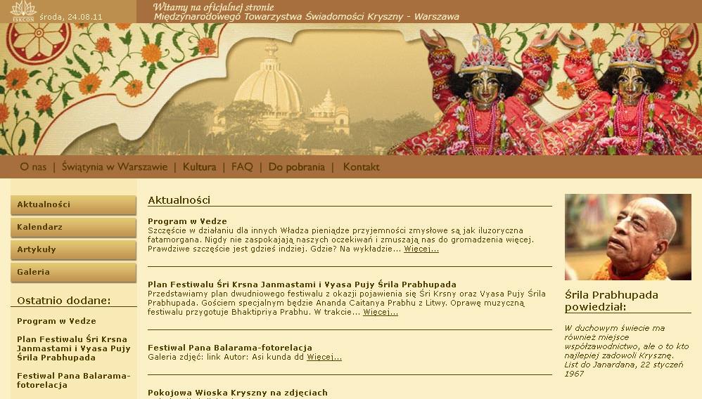 Iskcon Warsaw Website