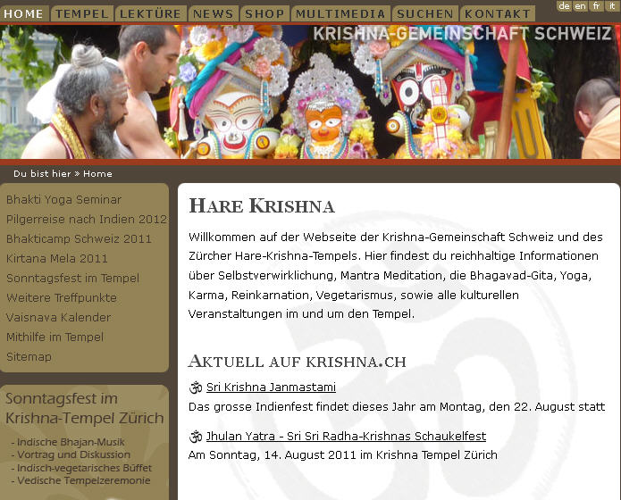 Iskcon Zurich Website