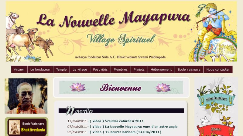 ISKCON La Nouvelle Mayapura Website