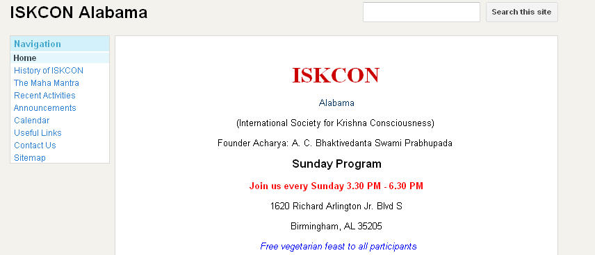 ISKCON Alabama Website