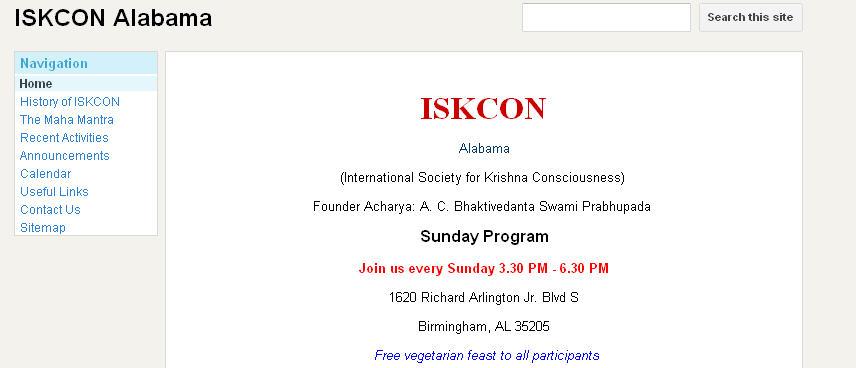 ISKCON Alabama Website