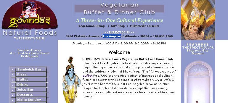 Iskcon Los Angeles Govinda S Restaurant