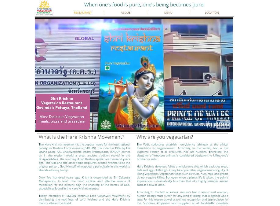 Shri Krishna Vegetarian Restaurant, Govinda's Pattaya Website