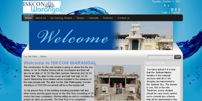 ISKCON Warangal Website