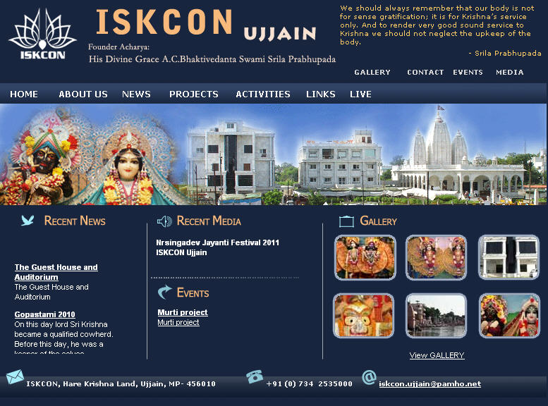 Iskcon Ujjain Website