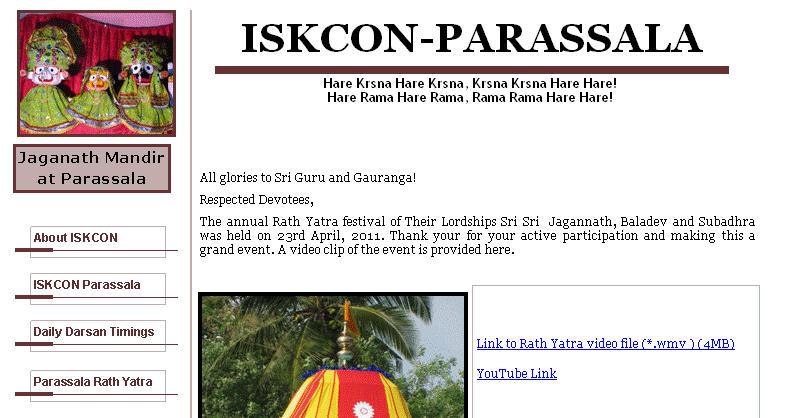 ISKCON Parassala Website